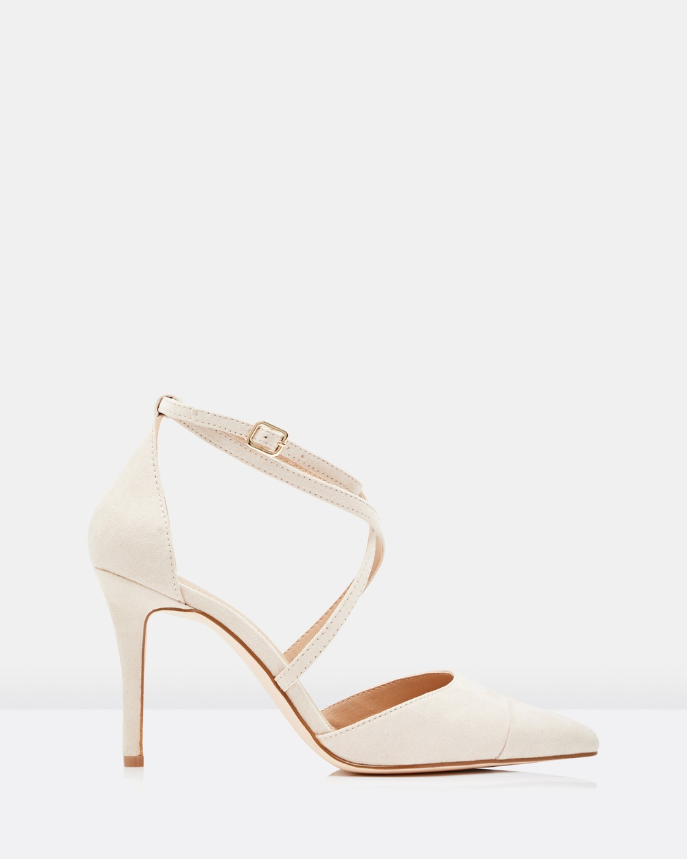 Forever New Emily Pointed Cross Strap Courts Heels Nude & Pink Emily Pointed Cross Strap Courts