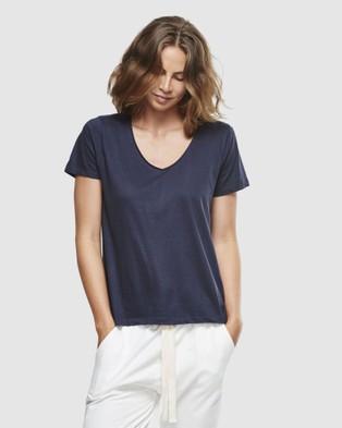 Cloth & Co. Organic Cotton Classic V Neck Tee - Short Sleeve T-Shirts (French Navy)