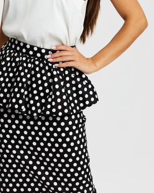 Atmos&Here Charlotte Peplum Skirt - Pencil skirts (Black & White Spot)