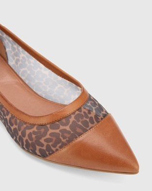 Wittner Marta Leopard Print Leather & Mesh Pointed Toe Flats Brown