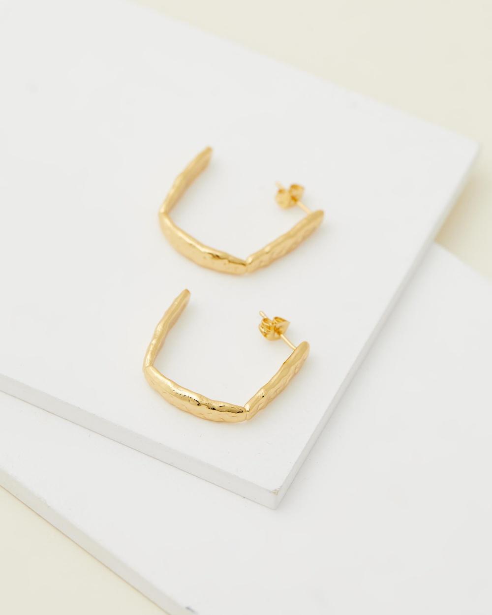 Brie Leon Frida Stud Hoop Earrings Jewellery 925 Base, 18K Gold Plated