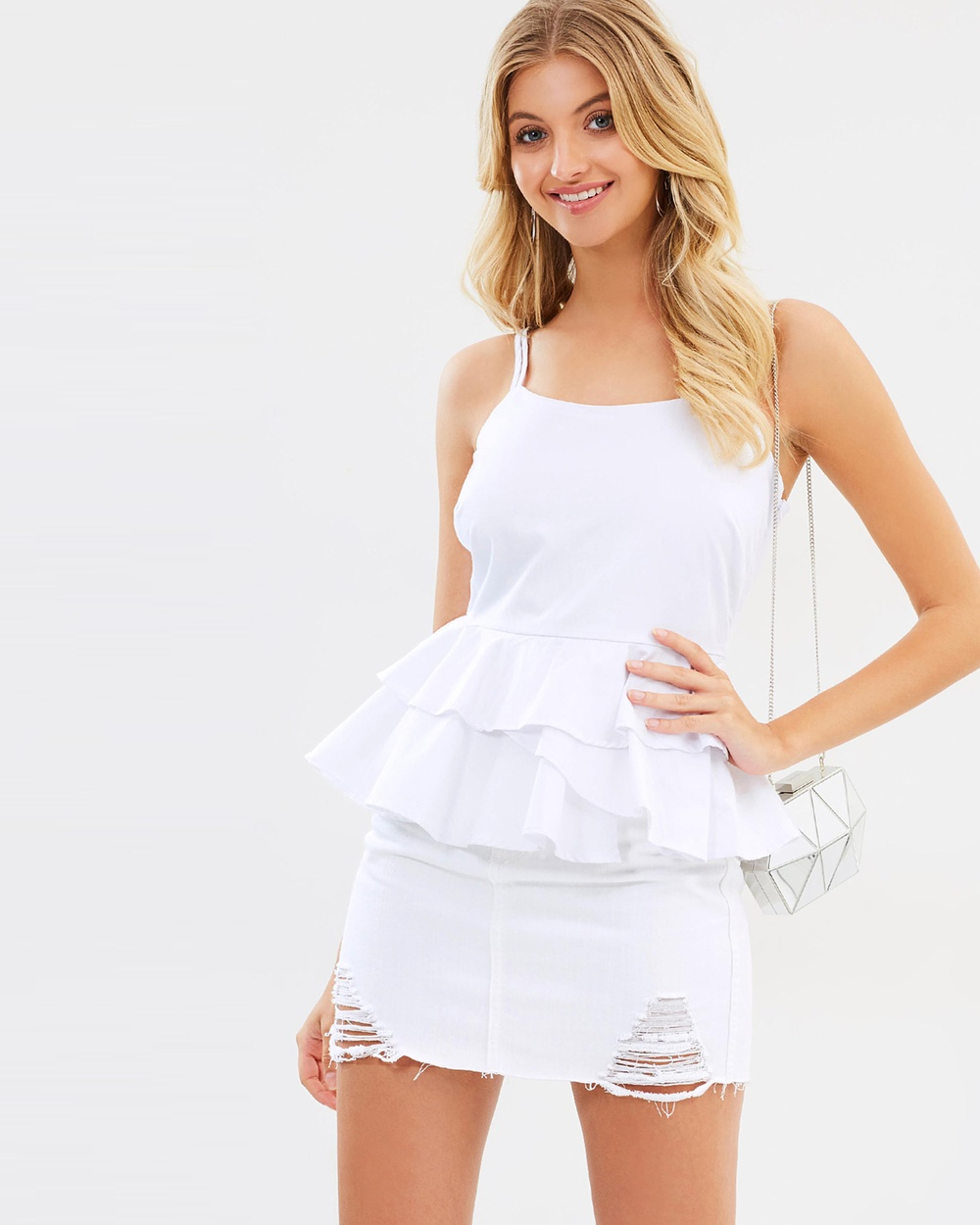 Atmos & Here ICONIC EXCLUSIVE Eden Frill Peplum Top Tops White ICONIC EXCLUSIVE Eden Frill Peplum Top