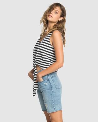 Quiksilver Quiksilver Womens Cropped Boxy Tank Top - Long Sleeve T-Shirts (BLACK LINEN STRIPE)