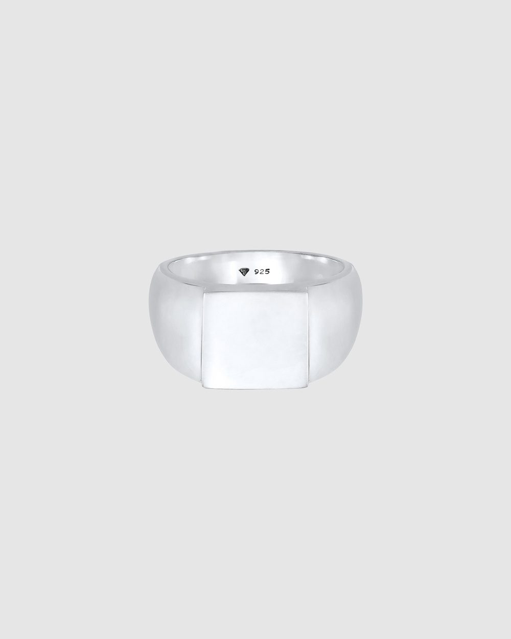 Kuzzoi Ring Signet Rectangular Gloss in 925 Sterling Silver Jewellery Silver