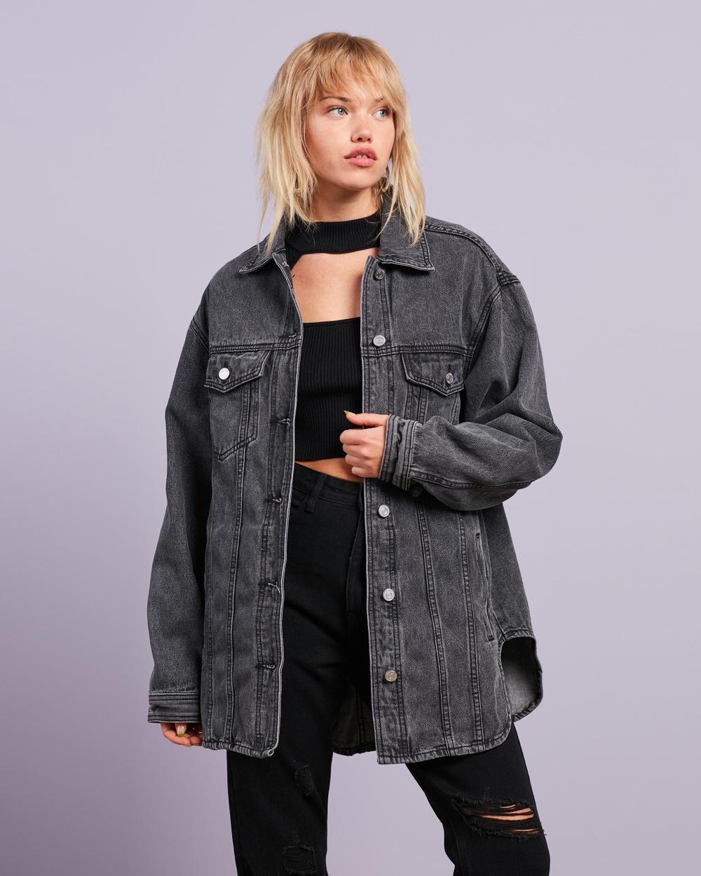 Missguided Oversized Curve Hem Denim Shirt Jacket jacket Black Australia