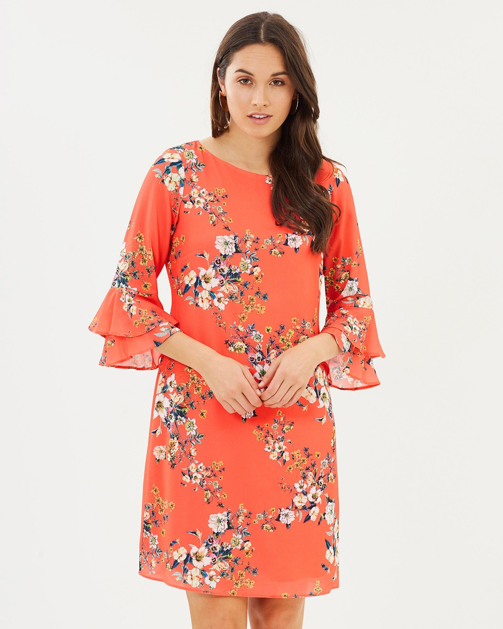 Wallis Floral Double Flute Dress Dresses Coral Floral Double Flute Dress