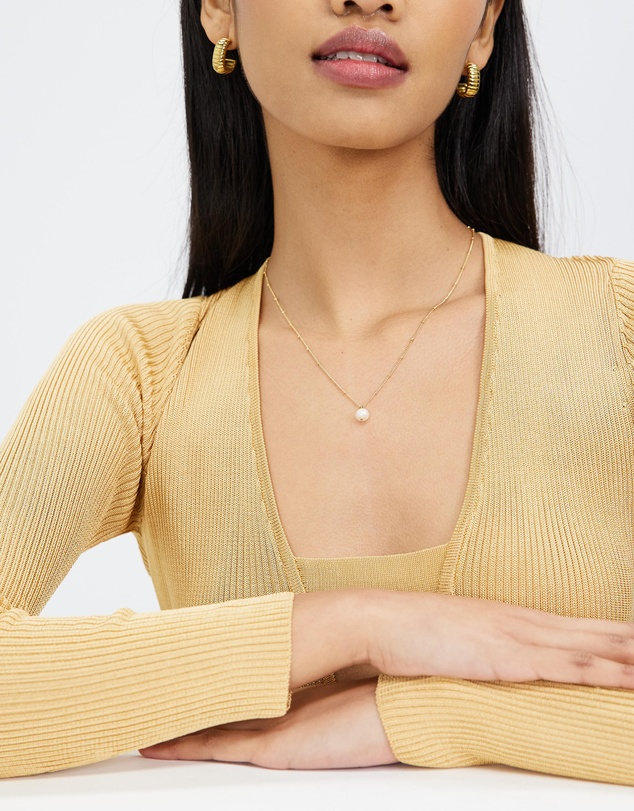 Women Pearl Drop Ditsy Necklace