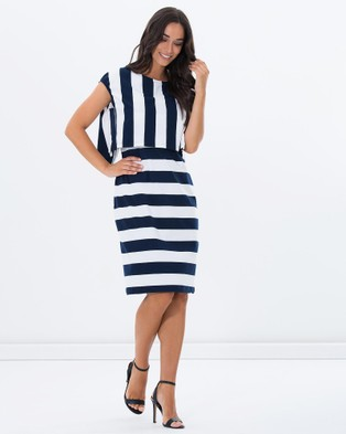 Privilege – Cape Midi Dress – Bodycon Dresses (Sailor Stripe)