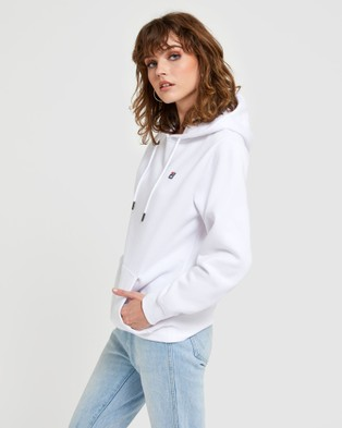 Fila Badge Hood   Women's - Hoodies (White)
