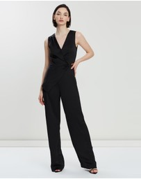 REISS - Vita Satin Wrap Front Jumpsuit