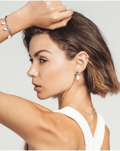 Saint Valentine Keshi Pearl Stud Earrings Silver