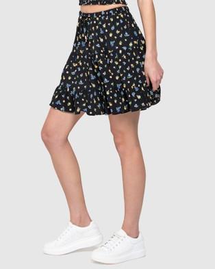 Forever New - Lulu Tiered Mini Skirt - Skirts (Cornflower Dusk Ditsy) Lulu Tiered Mini Skirt