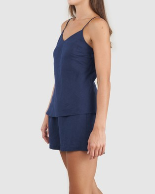 Amelius Grace Linen Cami and Short Set - All gift sets (Navy)