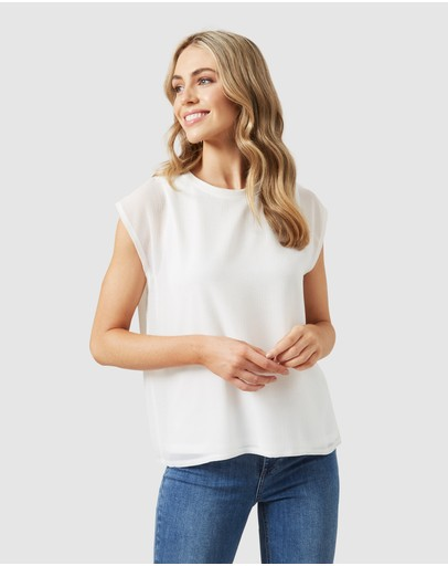 French Connection Spliced Relaxed Tee White