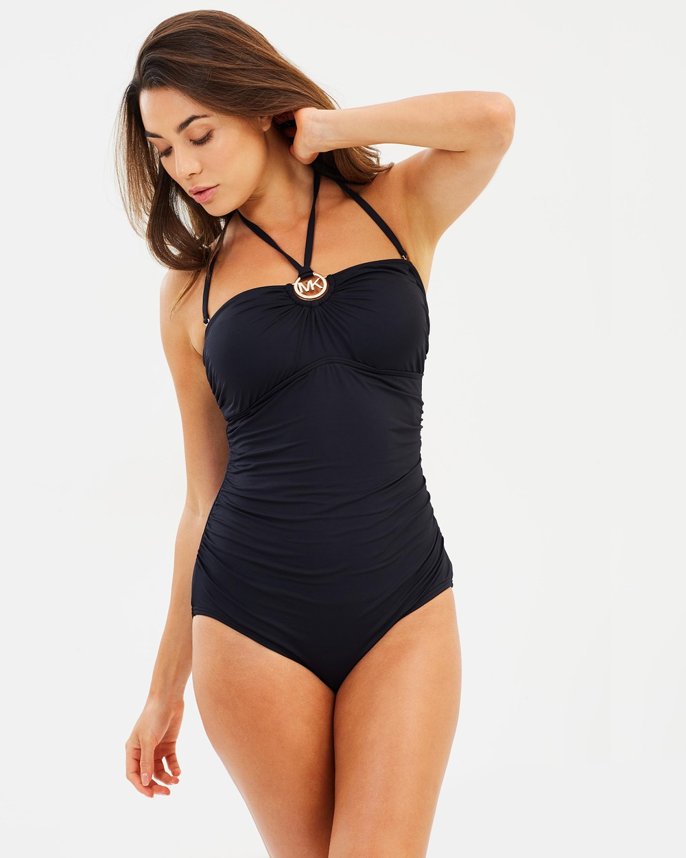 Michael Kors Logo Ring Shirred One Piece One-Piece / Swimsuit Black Logo Ring Shirred One-Piece