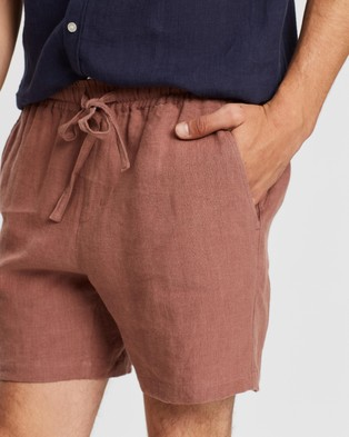 AERE Linen Pull On Shorts - Shorts (Pink)