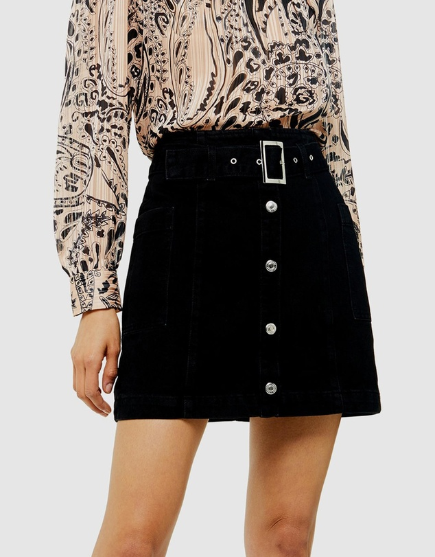 TOPSHOP - Button Down Belted Denim Skirt