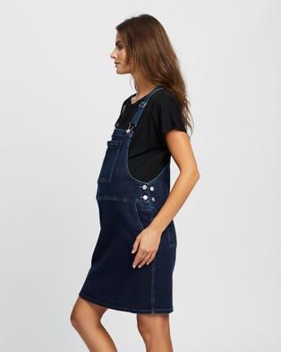 Angel Maternity Maternity And Nursing Denim Pinafore With Nursing Tee Set - Dresses (Mid-Wash Denim Blue)