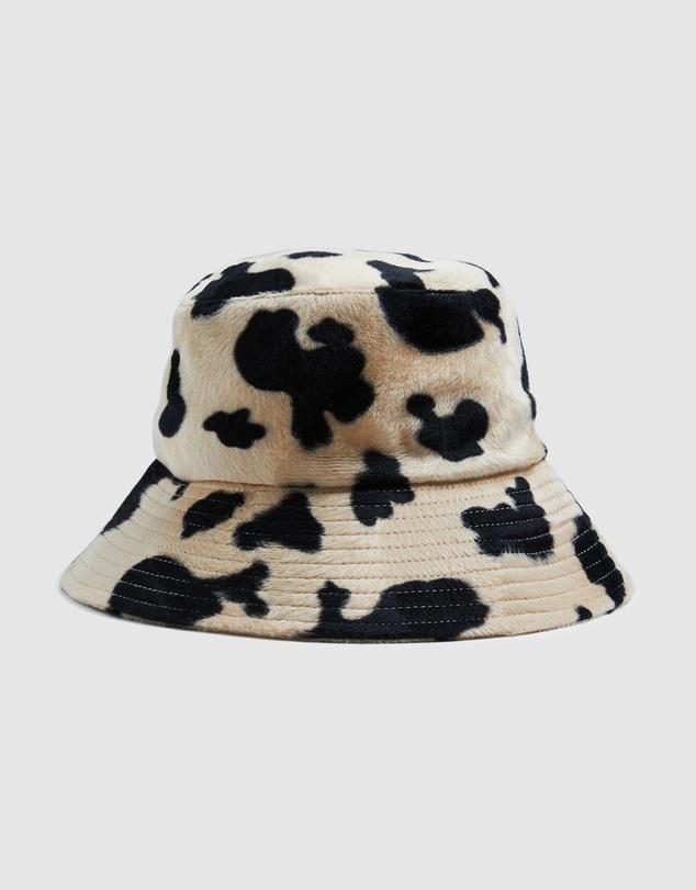 Women Furry Cow Print Bucket Hat