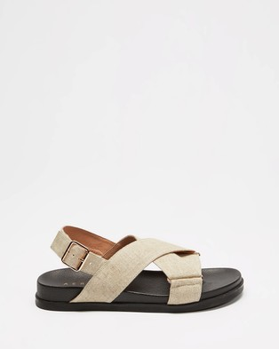 AERE Linen Crossover Footbed Sandals - Sandals (Off White Linen)