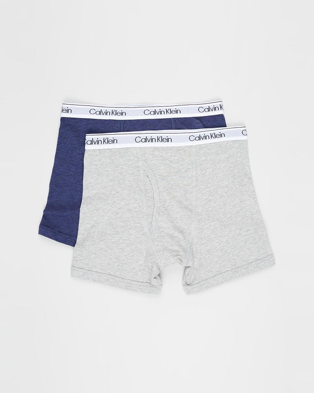 Calvin Klein Teen 2 Pack Modern Cotton Boxer Briefs Heather Grey 2-Pack