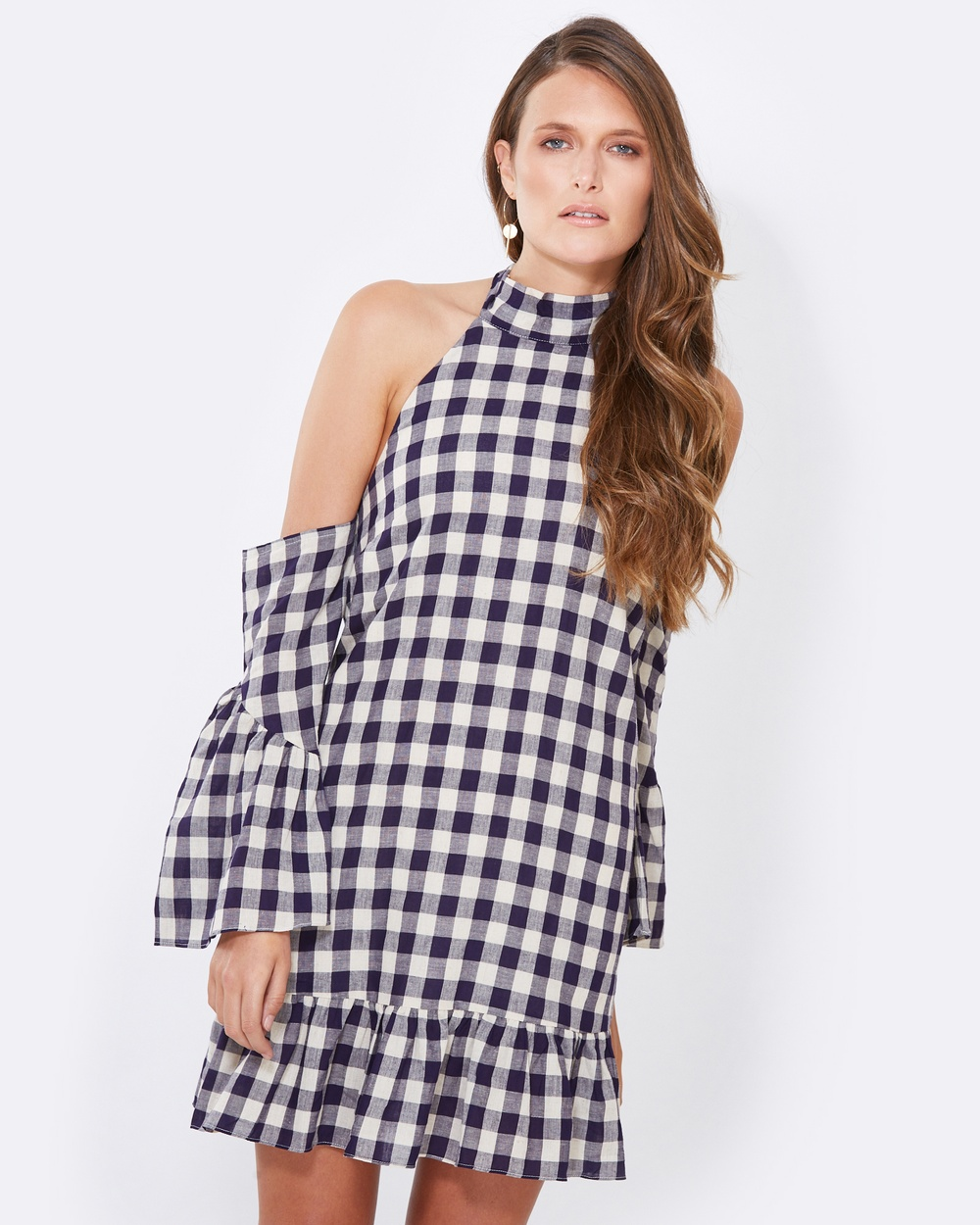 Tussah Alberta Halter Dress Dresses Navy Gingham Alberta Halter Dress