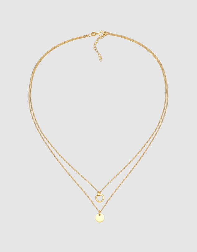 Women Necklace Layer Circle Cut Out Plate Trend in 925 Sterling Silver Gold Plated