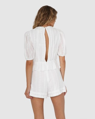 Lost in Lunar  Lainy Lace Playsuit - Jumpsuits & Playsuits (White)