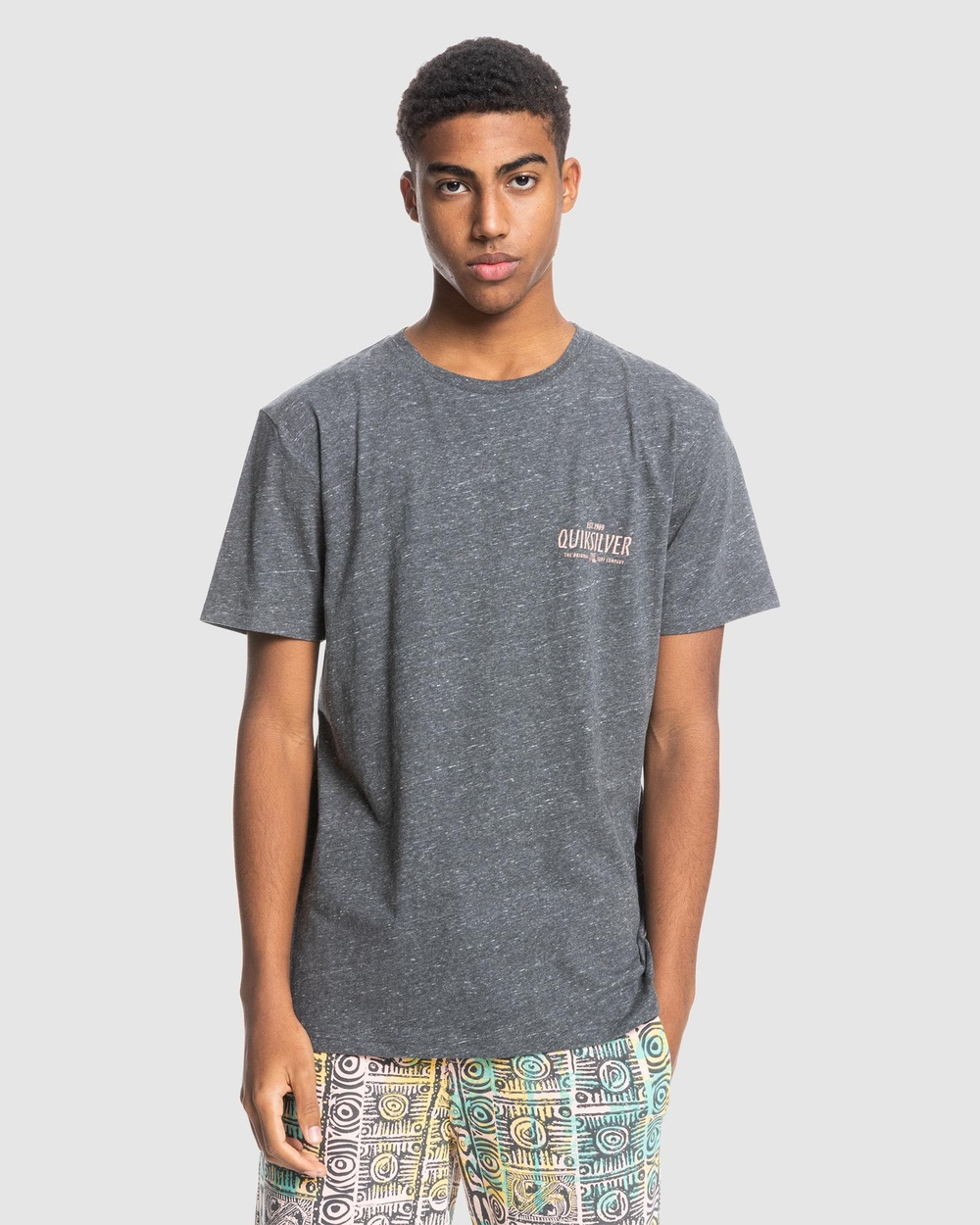 Quiksilver - Mens Time Reminder Organic T Shirt - T-Shirts & Singlets (Charcoal Heather) Mens Time Reminder Organic T-Shirt
