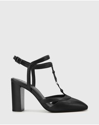 Wittner - Petrona Leather Block Heel Ankle Strap Pumps