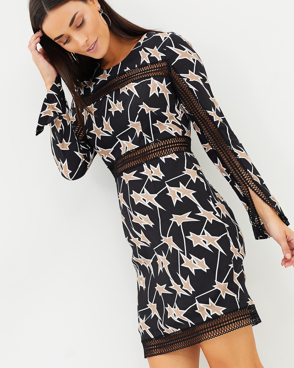 Honey and Beau Arianna Long Sleeve Insert Dress Printed Dresses Black Print Arianna Long Sleeve Insert Dress