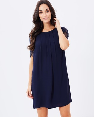 Atmos & Here – Bianca Lace Sleeve Shift Dress – Dresses (Navy)