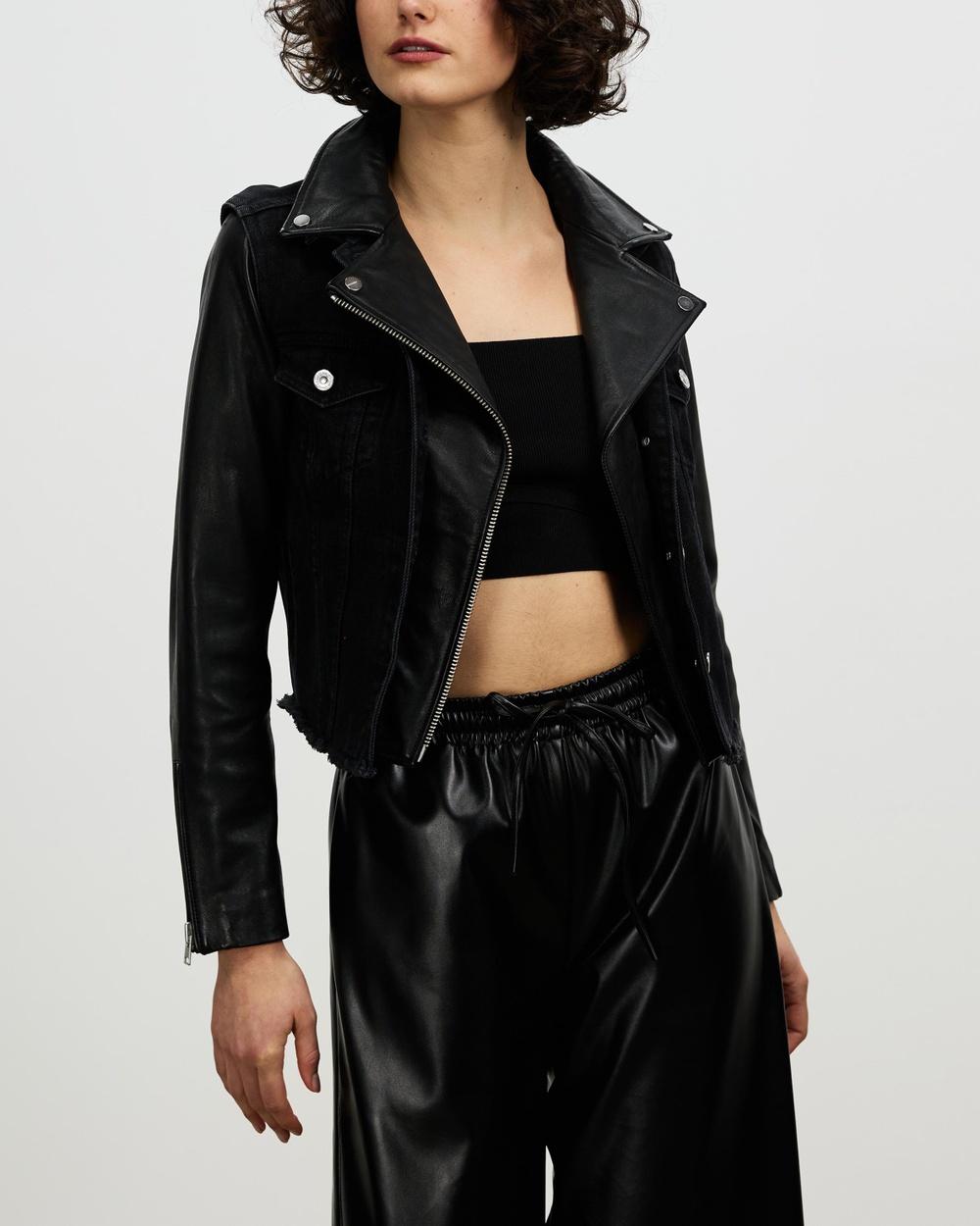 AllSaints Zayn Biker Denim jacket Black