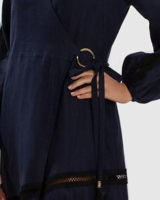 Aqua Blu Australia Serenity Spliced Wrap Dress - Dresses (Navy)