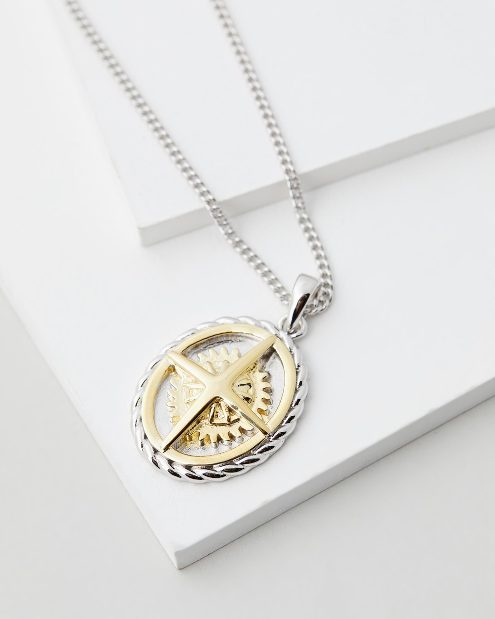 Serge DeNimes Two Tone Compass Necklace Jewellery Gold
