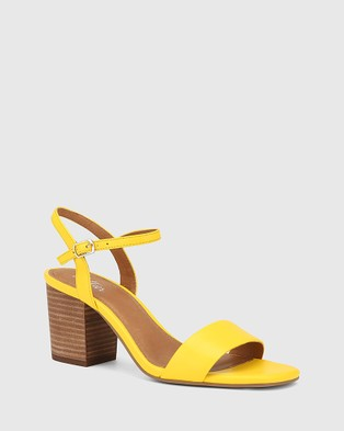 Wittner Collin Leather Block Heel Ankle Strap Sandals - Sandals (Yellow)