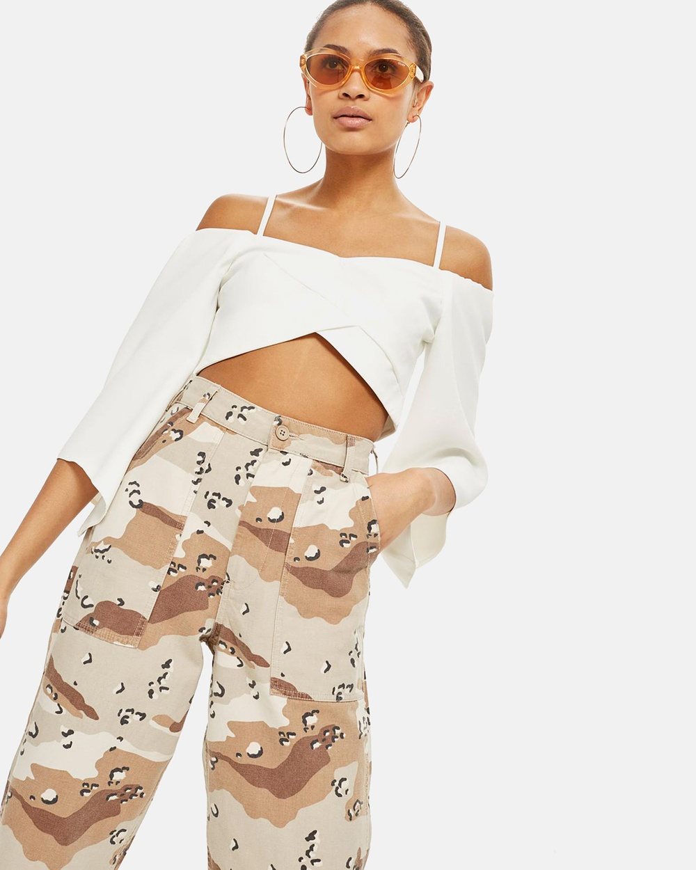 TOPSHOP Angel Sleeve Bardot Top Cropped tops Ivory Angel Sleeve Bardot Top
