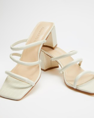 Atmos&Here Mia Leather Heels - Sandals (Beige Croc Embossed Leather)