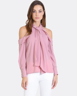 Forcast – Bonnie Cold Shoulder Top Dusty Rose