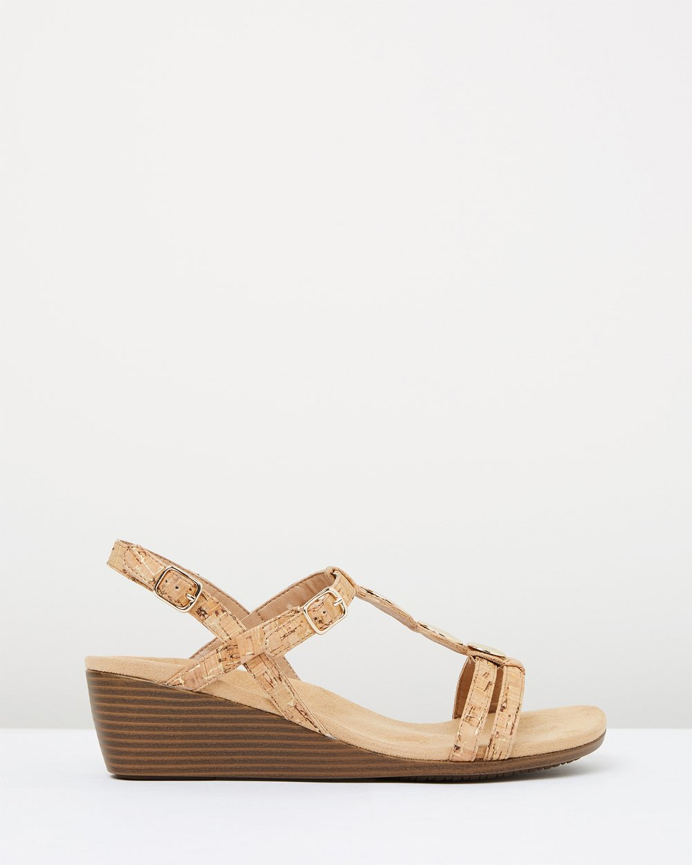 5a3f63ad5f29 Noleen T-strap Wedge Sandals by Vionic Online
