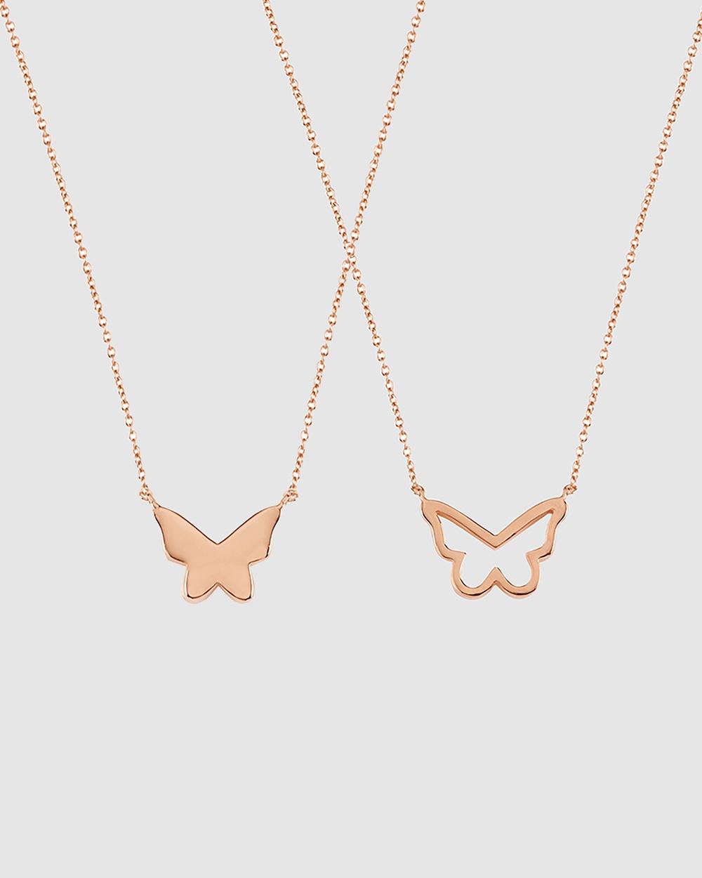 Secret Sisterhood Butterfly Friendship Necklaces Jewellery Rose Gold
