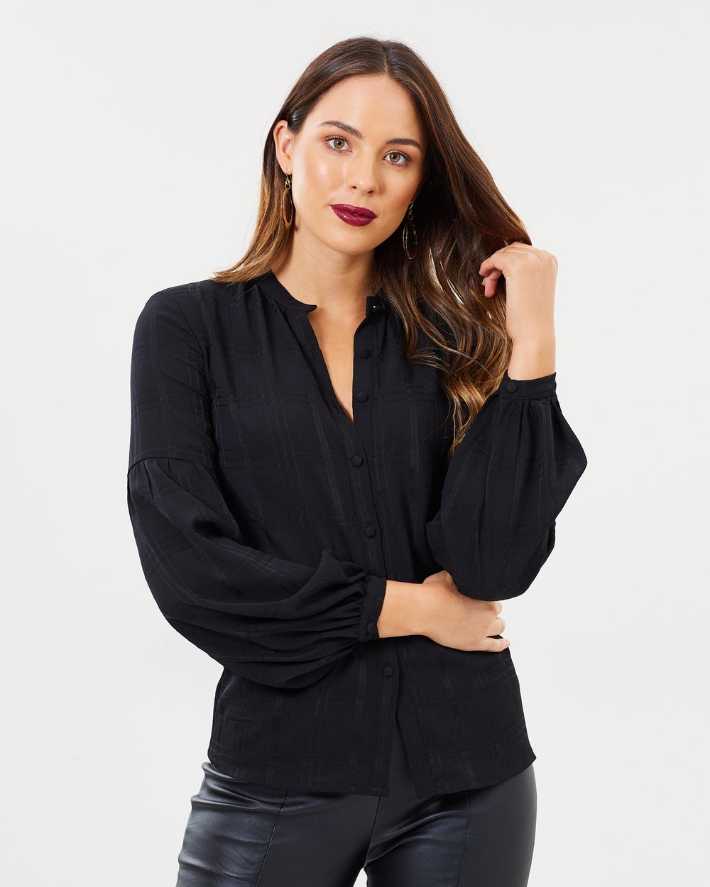 SANTINA-NICOLE Spencer Bell Sleeve Blouse Tops Black Spencer Bell Sleeve Blouse