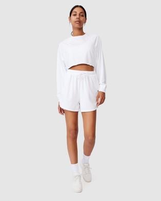 Cotton On Body Active Crop Raglan Fleece Top - Sweats (White)