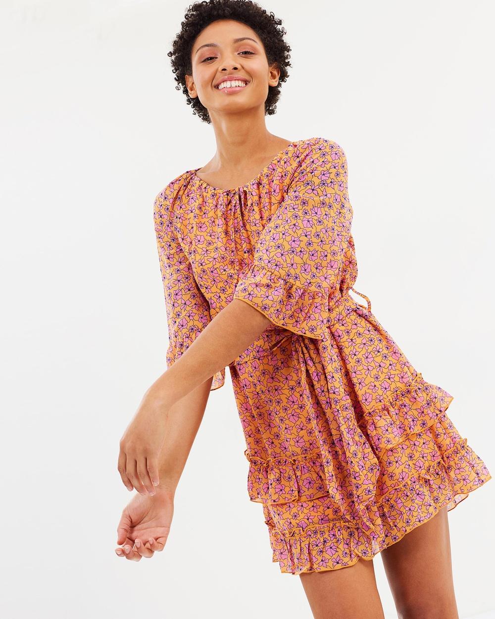 Vero Moda Karina 3 4 Dress Dresses Papaya Karina 3-4 Dress