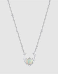 Elli Jewelry - Necklace Synthetic Opal Reindeer Antler 925 Sterling Silver
