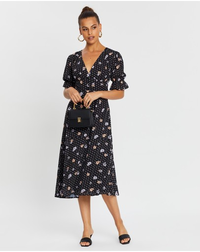 Dazie Crazy For You Midi Dress Black Dot Floral