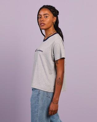 Champion - Script Ringer Tee Short Sleeve T-Shirts (Oxford Heather & Navy)