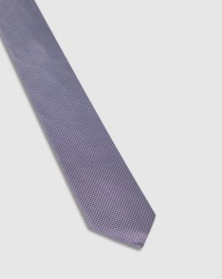 Oxford Silk Grid Tie - Ties (Purple)