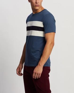Marcs - Wight Block Stripe Tee - T-Shirts & Singlets (Blue) Wight Block Stripe Tee