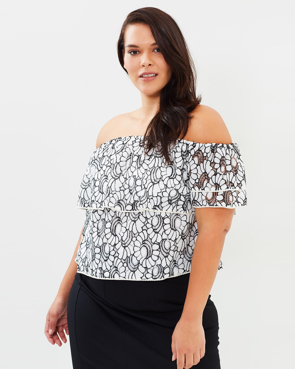 Atmos & Here Curvy ICONIC EXCLUSIVE Elise Off Shoulder Lace Top Tops Black & White ICONIC EXCLUSIVE Elise Off-Shoulder Lace Top
